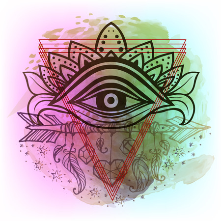 sanskrit: Third eye with dots mandala handcrafted line art Boho chic style. Best for and meditation relax poster and fashion sacred design. Watercolor, chalk, pastels, pencils texture. T-shirt trend. Vector