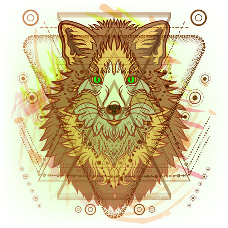 Hipster mystic sacred geometry on handcrafted yellow watercolor background. Boho chic magic indigo spaces.Triangle,circle, dots, geometric forms.Vector. Fox tribal totem tattoo animal.