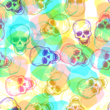 ?ute colorful seamless vector pattern background illustration with skulls and watercolor dots. Pastel colors. Fashion boho chic hipster style. Original teenage design 向量圖像