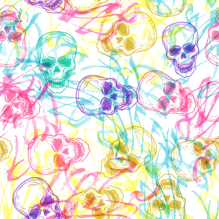 ?ute colorful seamless vector pattern background illustration with skulls and handcrafted brush texture. Pastel colors. Fashion boho chic hipster style. Original teenage design 向量圖像