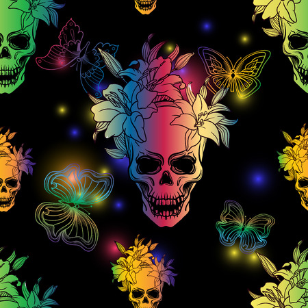 ?ute colorful seamless vector pattern background illustration with butterflies,skulls and lily flowers. Rainbow colors. Fashion boho chic hipster style. Original teenage design. Halloween creative
