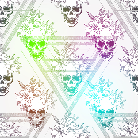 Seamless pattern Skull and lily flower. Seamless background for print on fabric or t-shirt. Illustration
