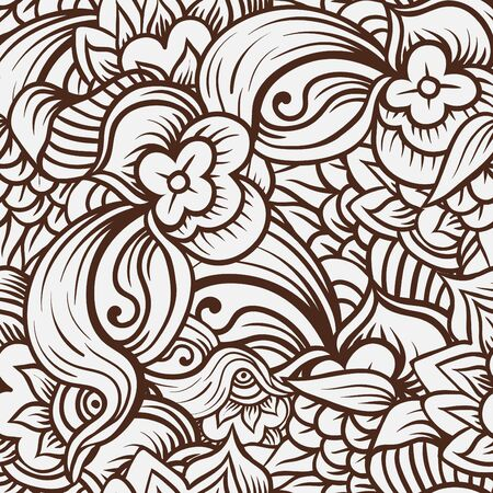 Ornamental seamless ethnic pattern. Floral background can be used for wallpaper, pattern fills, textile, fabric, wrapping, surface textures, coloring book for adults and kids.