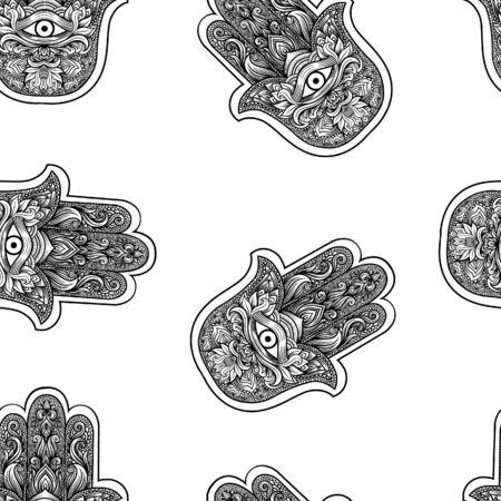 Hand drawn hamsa symbol seamless pattern Illustration