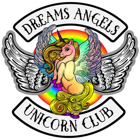 Sticker pony unicorn with wings.Emblem of the childrens bike club. Creative idea of design of childrens products, Emblem badge, print, tattoo.Fairy-tale horse fulfilling dreams Illustration