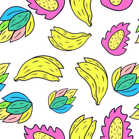 Seamless pattern with cartoon doodle banana.