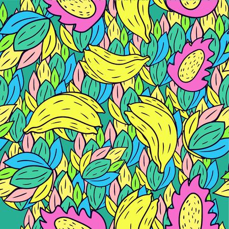 Fruit seamless pattern background with cartoon doodle banana. Illustration