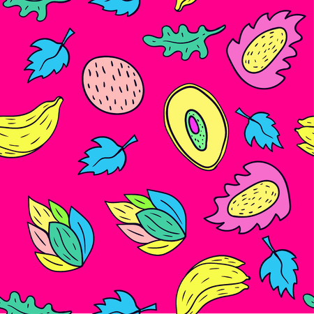 Fruit cartoon seamless pattern background in pink color.