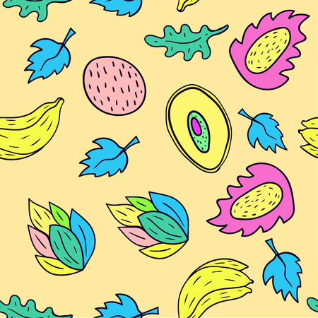 Fruit cartoon seamless pattern background in yellow color.
