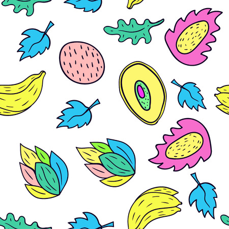 Fruit cartoon seamless pattern background in white color.