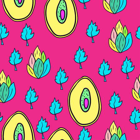 Fruit seamless pattern with cartoon doodle leaves. Illustration