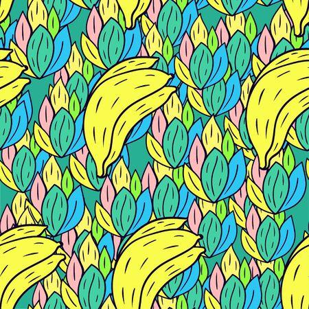 Fruit Seamless pattern with cartoon doodle banana. Illustration