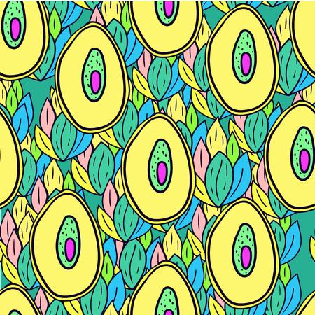 Fruit seamless pattern with cartoon doodle avocado.