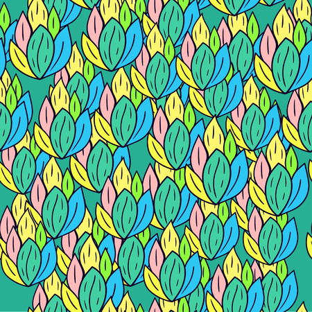 Seamless pattern with cartoon doodle leaves.
