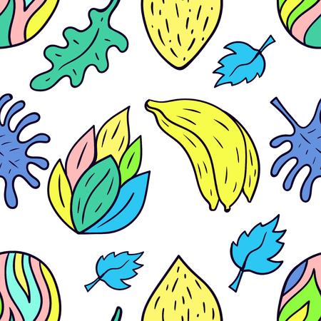 Seamless pattern with cartoon doodle tropical motif. Banana. Vector illustration.