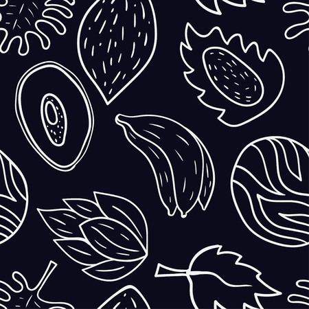 Seamless pattern with cartoon doodle tropical motif Banana, avocado, dragon fruit. Illustration