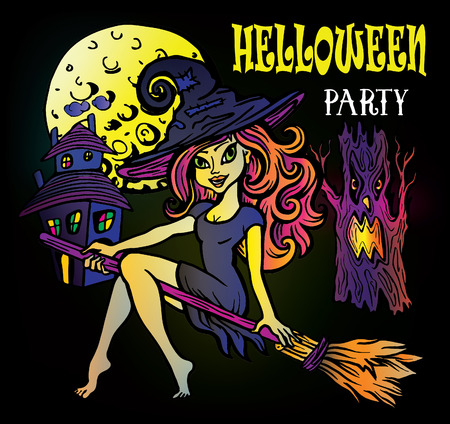 A witch on a broom, an evil tree, an old castle and a full moon. Halloween party set Illustration