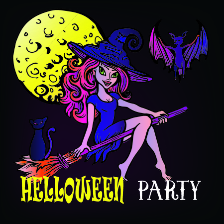 A witch on a broom, an evil tree, cat,bat and a full moon. Halloween party set