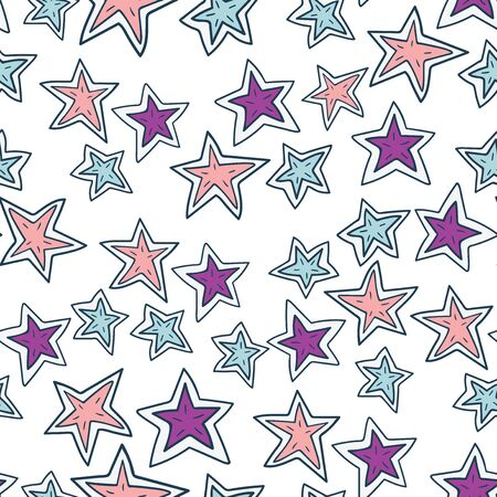 Hand drawn stars doodle seamless pattern. Hand drawn illustration. Simple background with stars for decoration.