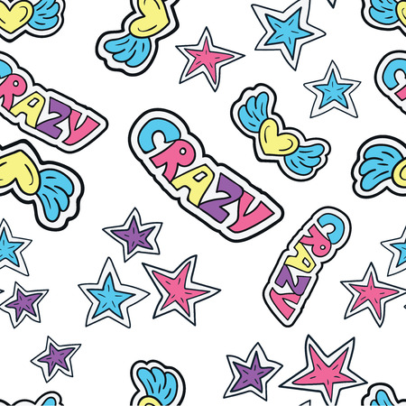 Hand drawn stars doodle seamless pattern. Seamless pattern with cartoon doodle sticker in comics style with contour. Illustration
