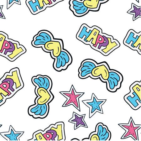 Hand drawn. Seamless pattern with cartoon doodle sticker in comics style with contour.