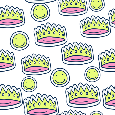 Seamless pattern with cartoon doodle sticker in comics style with contour. Back to school young trendy style