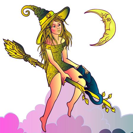 Vector Illustration of a Halloween Witch Flying on a Broomstick.