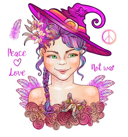 Little Witch. Halloween. Witch hippie peacemaker. Peace and love hippie pacific symbol.