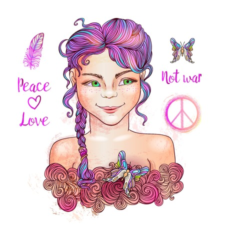 Little pretty girl with Pacific hippie peace symbol, not war inscription, feather, doodle heart and colorful butterfly.Crazy pink hair.