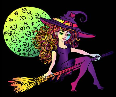 Vector Illustration of a Halloween Witch Flying on a Broomstick. Full moon Illustration