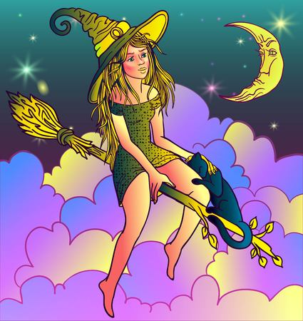 Vector Illustration of a Halloween Witch Flying on a Broomstick Illustration