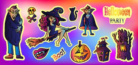 Halloween party set with cartoon doodle sticker Characters in comics style with contour. Back to school young trendy style. Vampire, Witch Flying on a Broomstick, skull and bones, evil tree, pumpkin, black cat,full moon,ncient castle of horrors Illustration