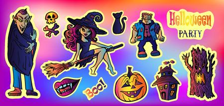 Halloween party set with sticker Characters in comics style.Back to school young trendy style. Vampire, Witch on Broomstick, skull, evil tree, pumpkin, black cat,full moon,?ld castle of horrors