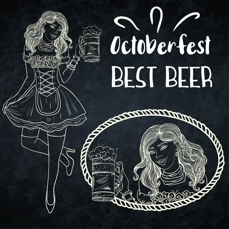 Bar waitress with beer mugs in hands and chalkboard. Handcrafted line art. Vector background. Illustration