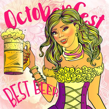 Oktoberfest woman with beer, pin-up pop-art sexy girl vector illustration