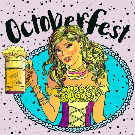 Pretty girl with beer, Oktoberfest or St. Patricks day vector design, invitation