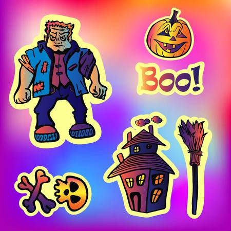 Halloween party set with sticker Characters in comics style.Back to school young trendy style. Frankenstein, castle of horror, skull, pumpkin. Illustration