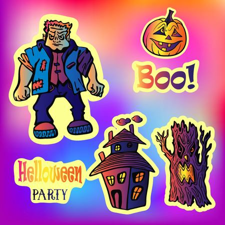 Halloween party set with sticker characters in comics style.Back to school young trendy style. Frankenstein, castle of horror, evil tree, pumpkin.