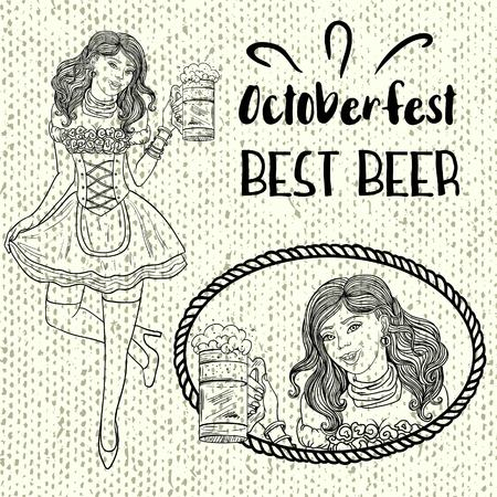 October Fairy Sexy German girl waitress in traditional clothes holding a mug of beer
