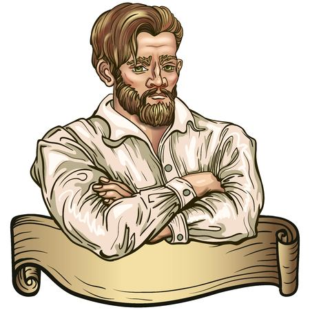 Hipster bearded man. Muscular European with a beard folded his arms. Vector concept retro handcrafted vintage emblem.