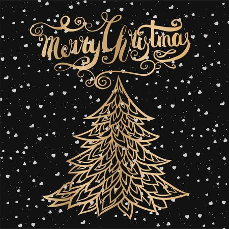 Merry Christmas lettering with christmas tree
