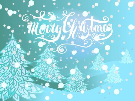 Merry Christmas card with handcrafted lettering and christmas tree