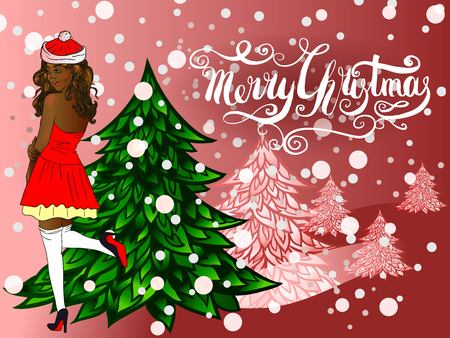 Merry Christmas card with handcrafted lettering and christmas tree.