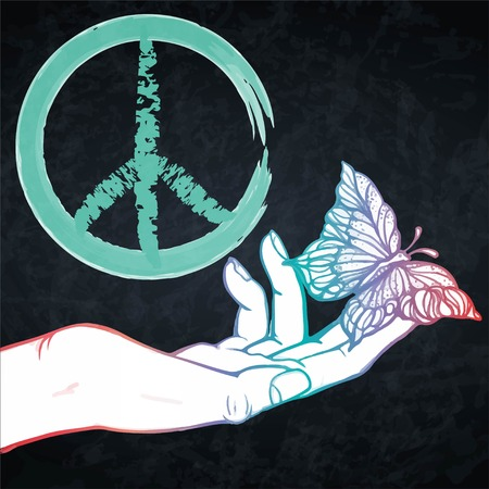 Peace and love pacific hippie symbol with hand and butterfly. EPS10 vector