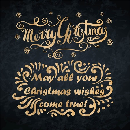 Merry Christmas card. May all your christmas wishes come true lettering.