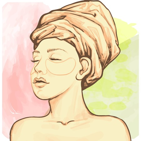 Young woman with eye mask. Spa procedure. Beauty treatment. Vector illustration. Illustration