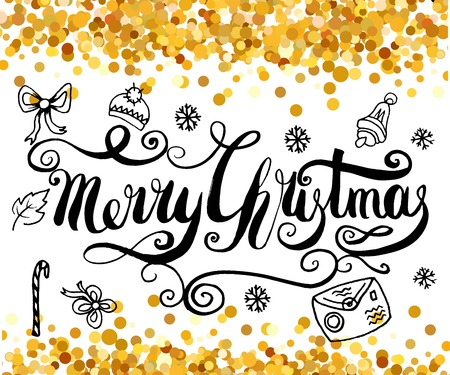 Merry Christmas handcrafted lettering on the gold shiny glitter background. Illustration