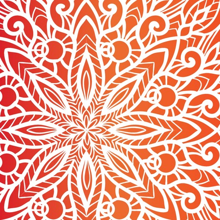 Red Christmas background with white filigree beautiful ornate snowflake