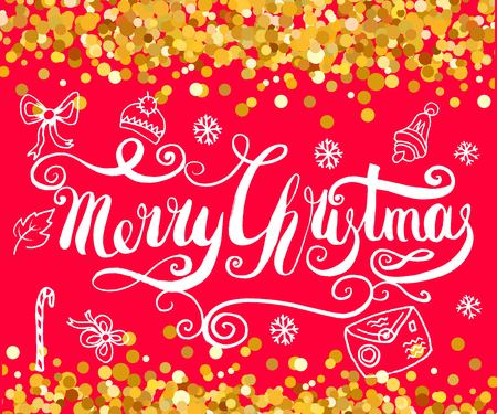 Red Christmas background with gold, filigree beautiful ornate snowflake and doodle elements. Merry christmas handcrafted lettering