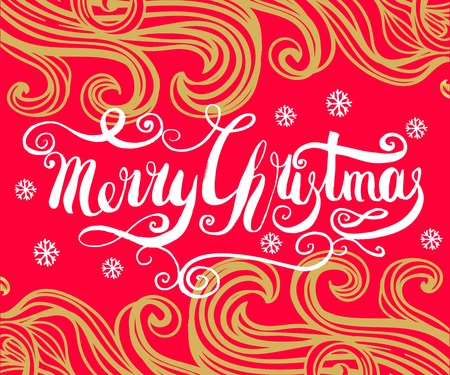 Red Christmas background with gold, filigree beautiful ornate pattern,snowflakes and doodle elements. Merry christmas handcrafted lettering